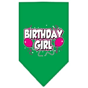 Birthday girl Screen Print Bandana Emerald Green Large